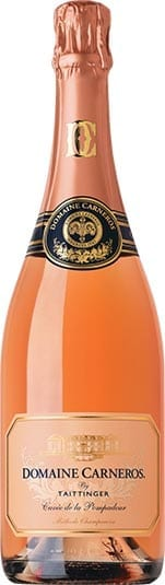 Domaine Carneros by Taittinger Champagne Brut Rose Cuvee de la Pompadour sparkling wine bottle from California