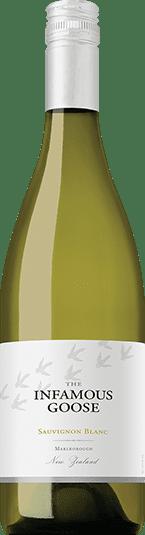 White wine bottle of Infamous Goose Sauvignon Blanc from Marlborough New Zealand