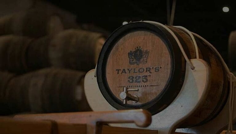 Taylor Fladgate Port wine barrel in a cellar in Douro, Portugal (Oporto)