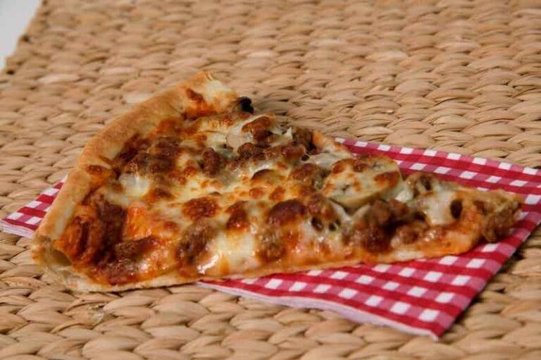 Slice of sausage pizza