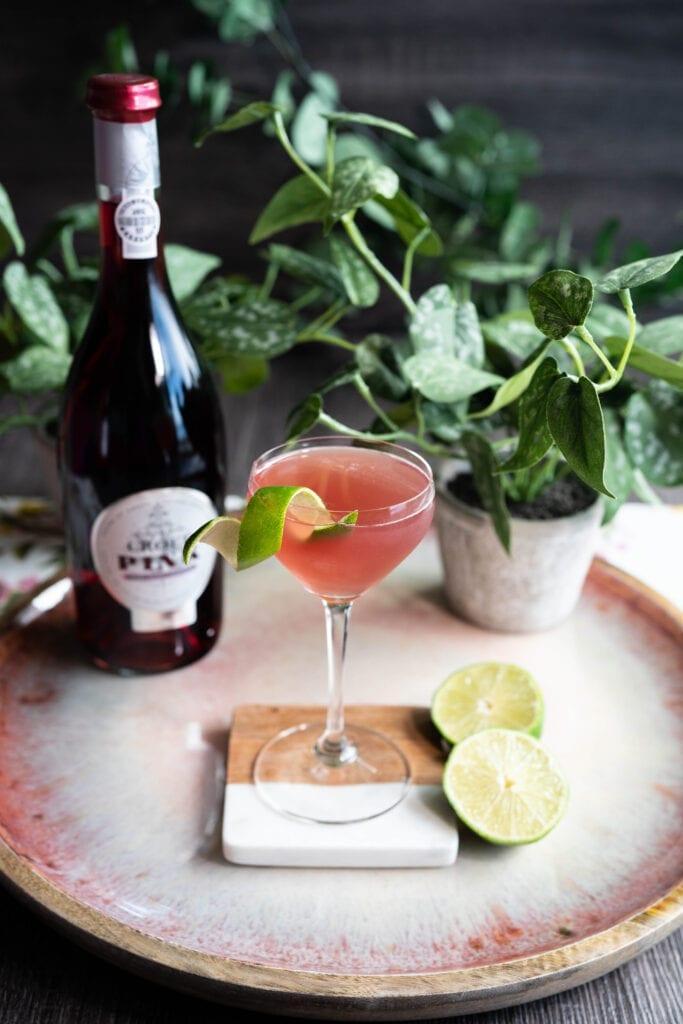 Port cocktail with Croft Pink Port - Rose Honey Gimlet