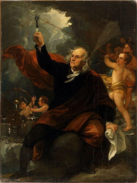 Benjamin Franklin Drawing Electricity from the Sky (Wiki Commons; ca 1816)