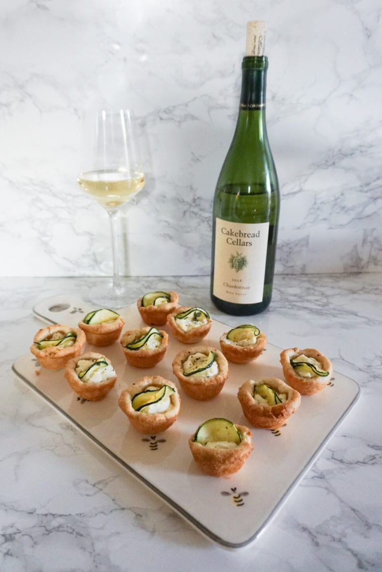 Cakebread Chardonnay and Zucchini Goat Cheese Tartlets
