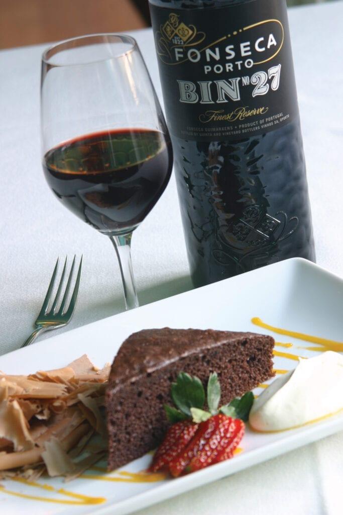 Fonseca Bin 27 Port with chocolate cake