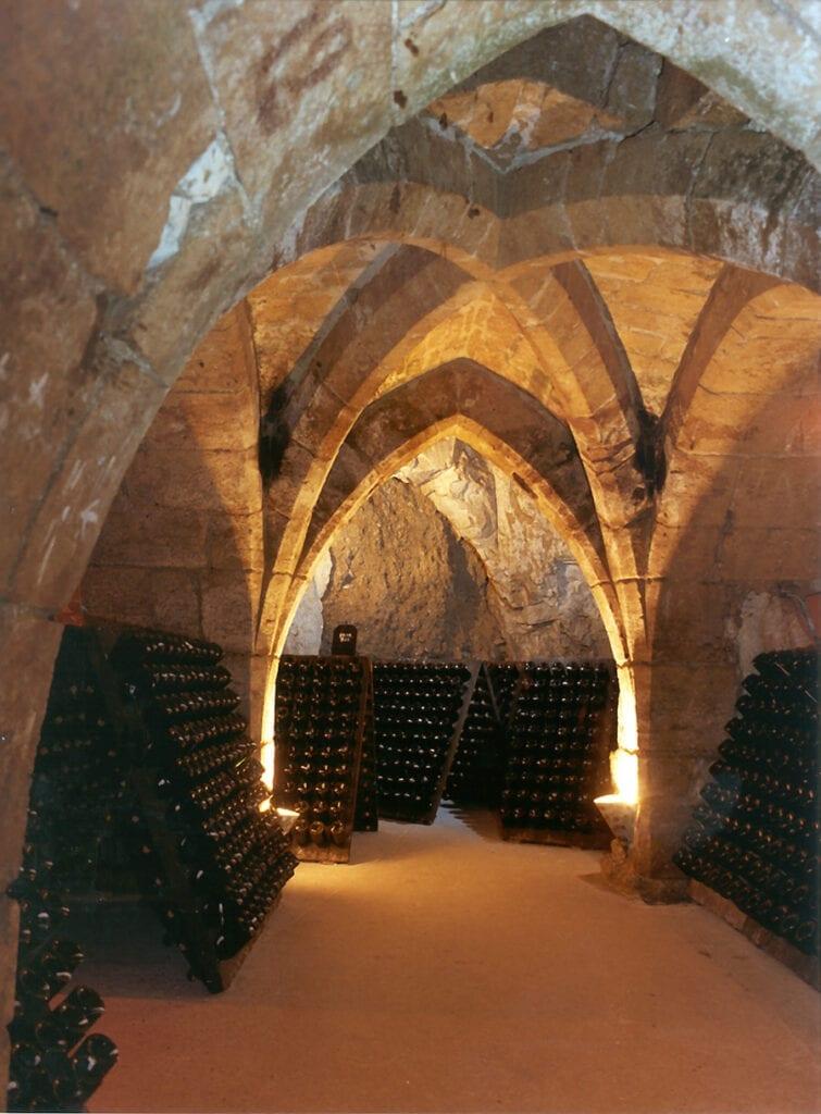 Champagne Taittinger cellars, carved into chalk underground
