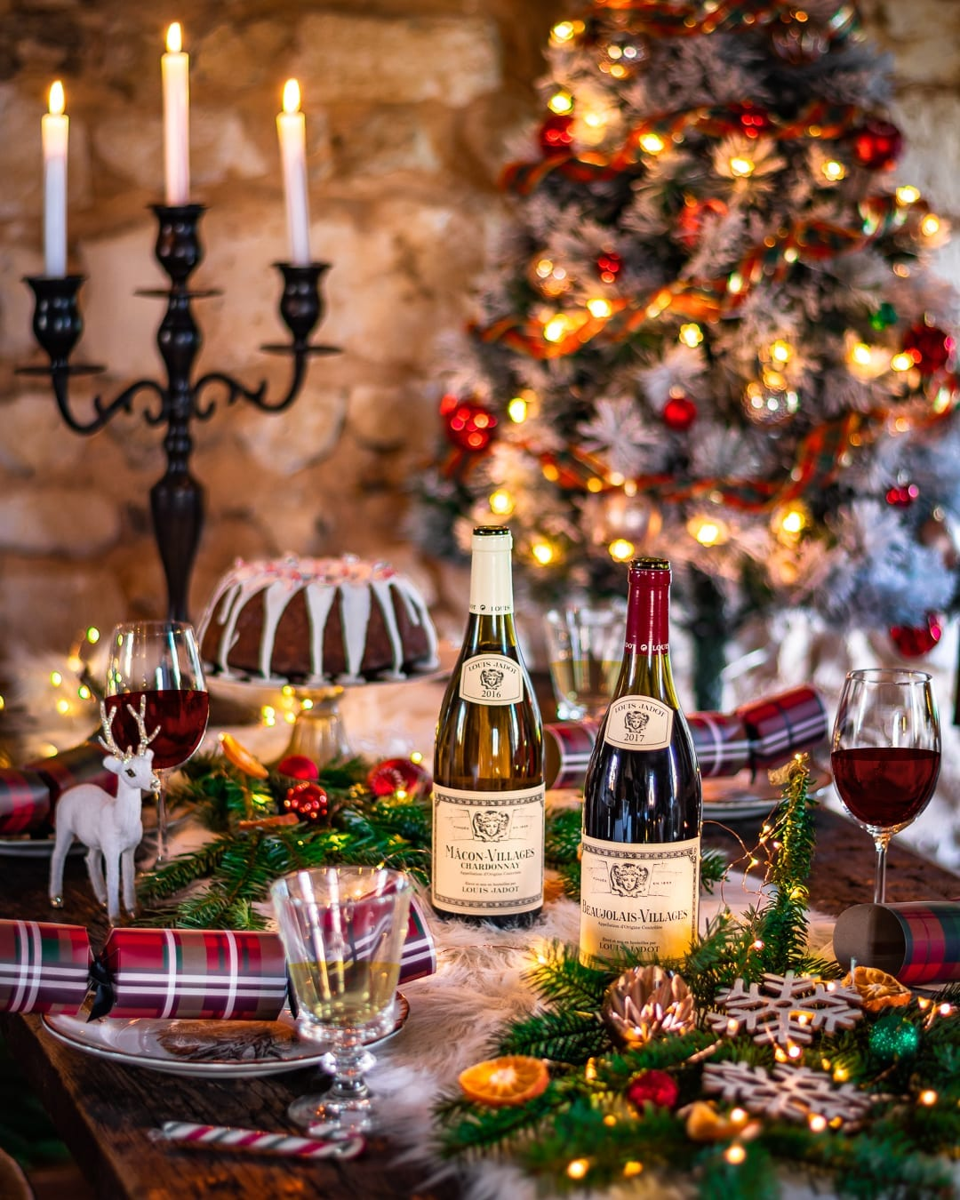 Louis Jadot red wine, white wine, Christmas setting, holiday