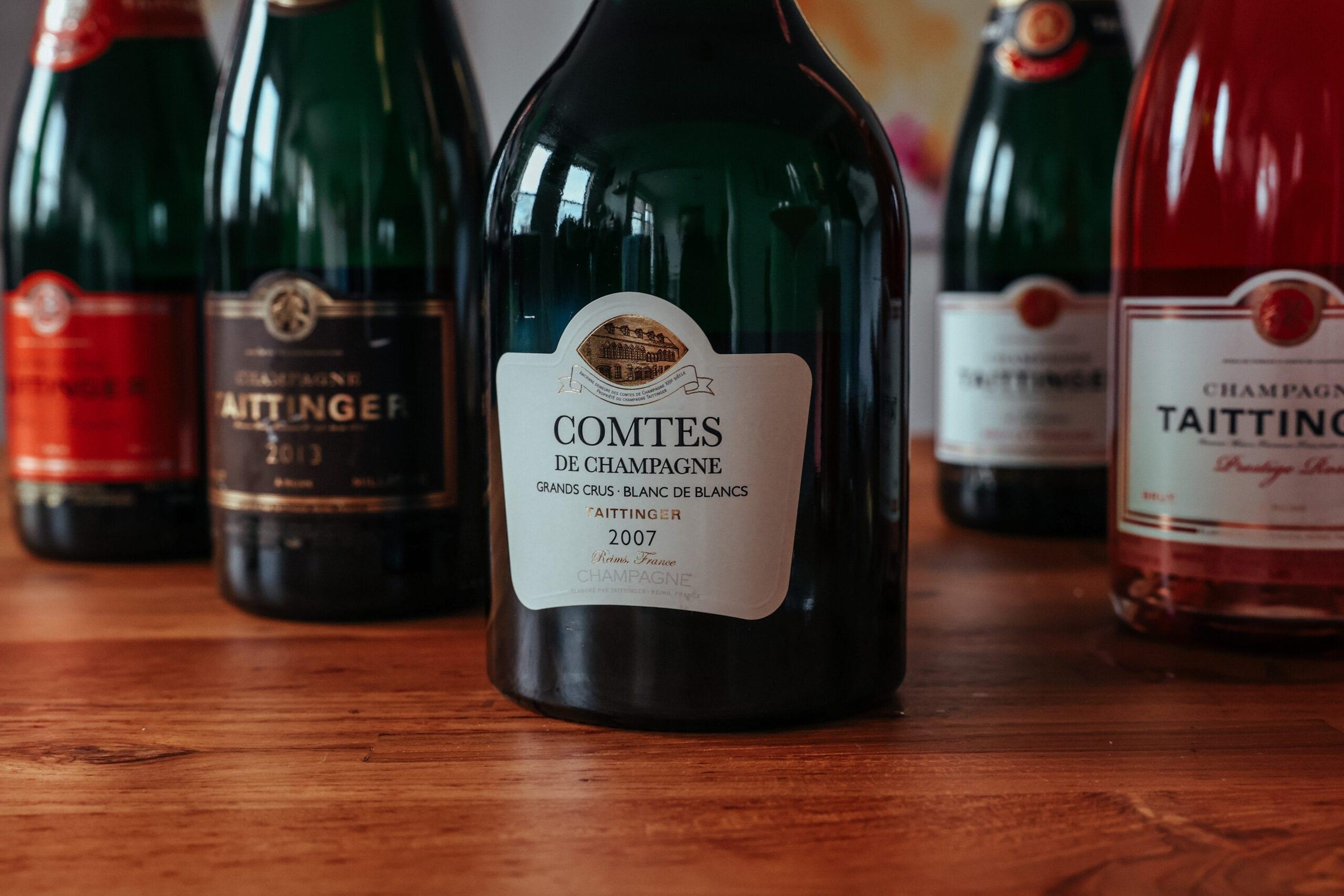 Champagne wine bottles, Taittinger