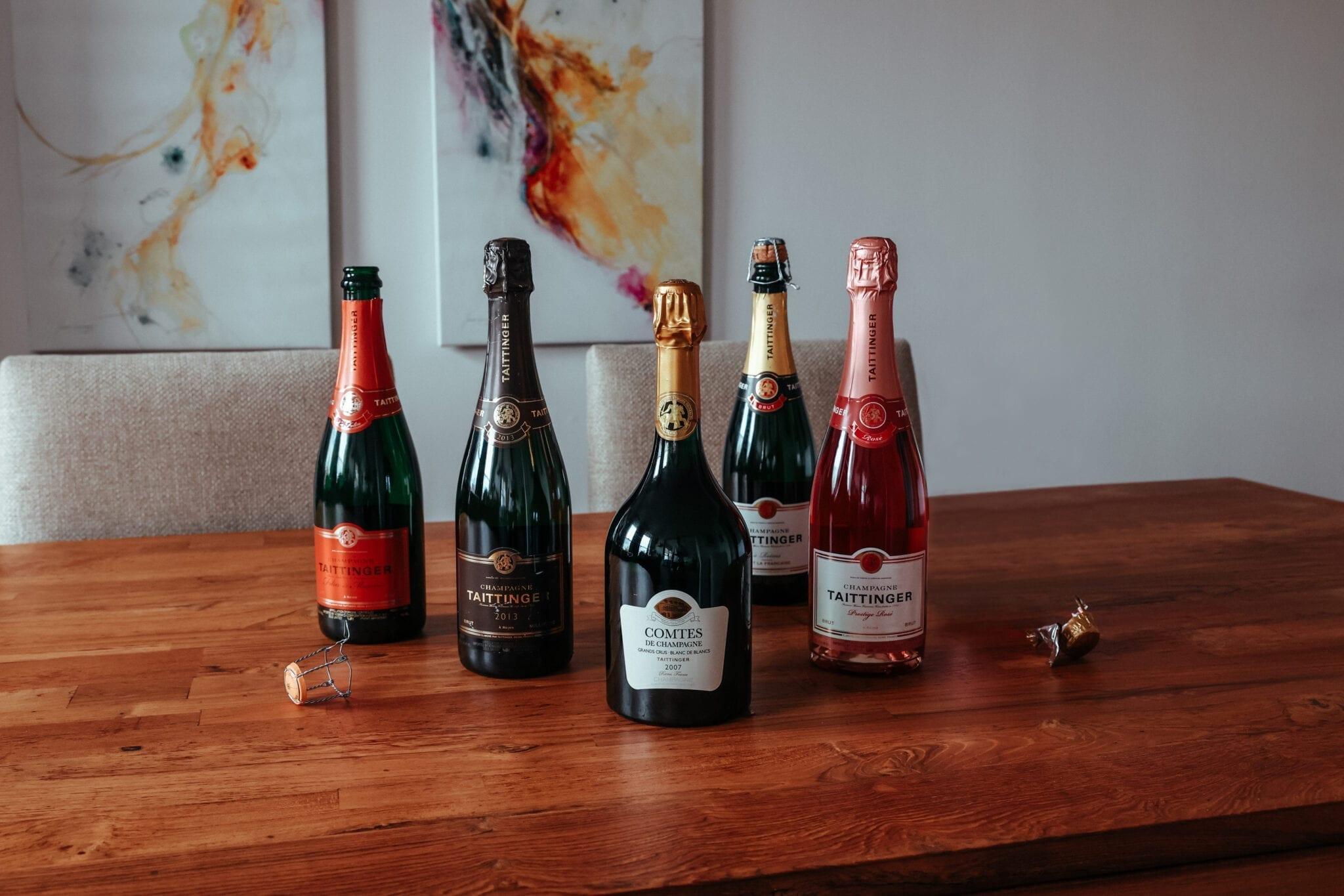 Champagne bottles, Taittinger, sparkling wine