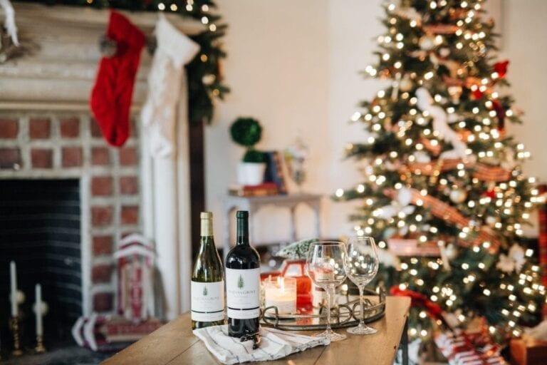 Sequoia Grove holidays, christmas tree, lights, wine, table
