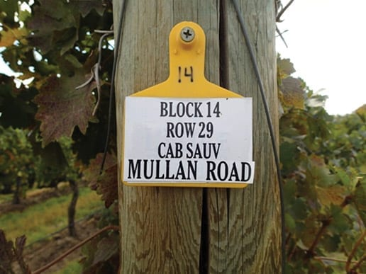 Mullan Road, Cabernet, Vineyard sign