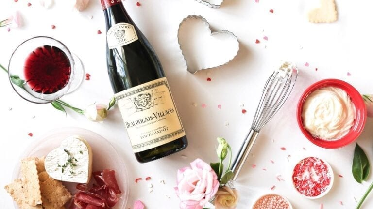 Louis Jadot Burgundy wine, Valentine's Day, cookies, Beaujolais Village, wine bottle