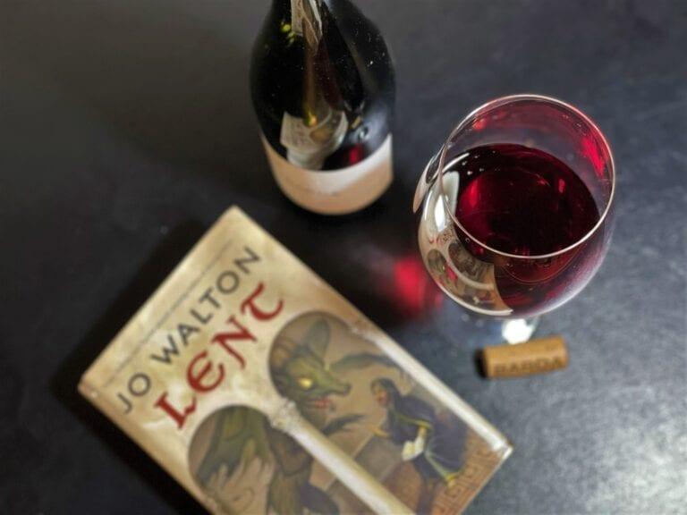 Chacra Barda Pinot Noir wine, red, bottle shot, book, wine pairing, jo walton