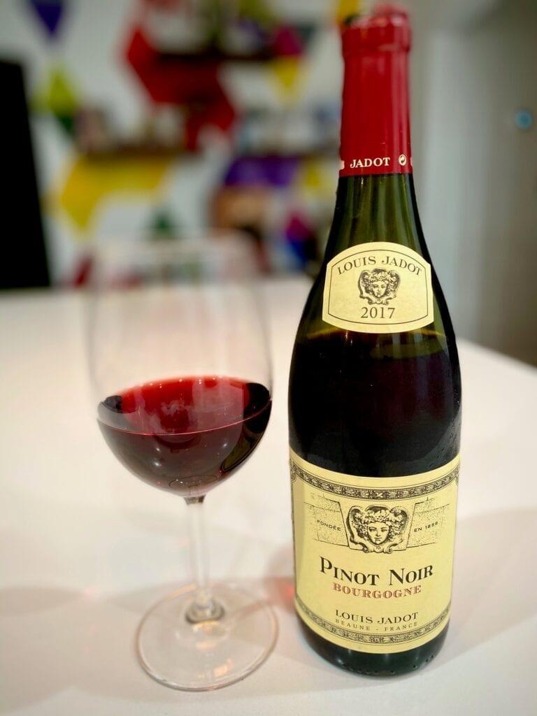 Red wine, Louis Jadot Bourgogne Pinot Noir Burgundy, French wine bottle, wine glass