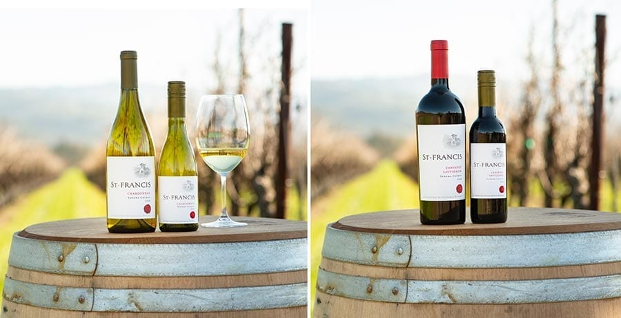 St. Francis Winery full size and half-bottle sizes of Sonoma Chardonnay and Cabernet Sauvignon wines
